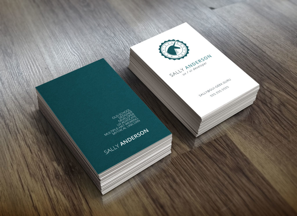 Personal business cards featuring my Mythical Unicorn Logo